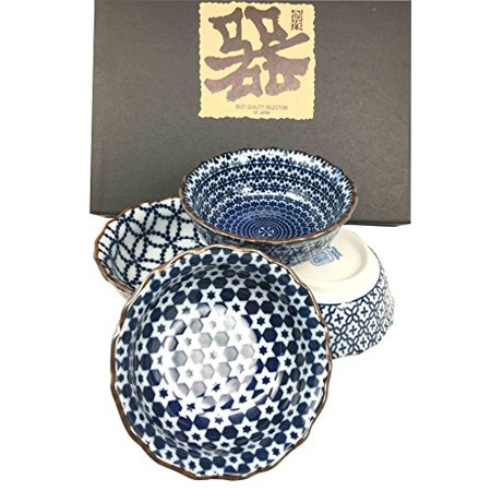 - Made in Japan Blue Multi Pattern Glazed Ceramic Sauce Condiment Appetizer Dipping Bowl Set Serves Four Great Gift Housewarming Asian Living Home Decor Kitchen Accessory Serving Dishware