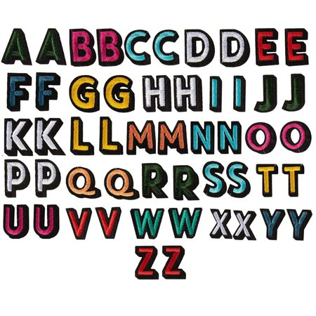 Letter Patches - 52-Piece Alphabet Applique Patches, Iron on Patches, DIY Embroidered Patches for Hats, Jackets, Shirts, Vests, 2 Sets of 26 Letters, Multicolored, 1.375 x 1 Inches
