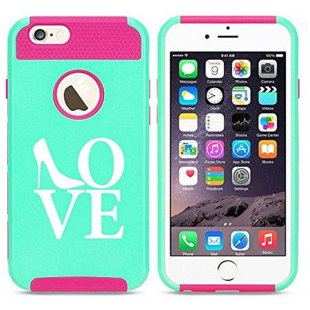 Apple iPhone SE Shockproof Impact Hard Soft Case Cover Love High Heels Shoes (Light Blue-Hot
