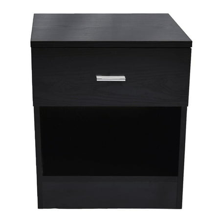 Ktaxon Night Table 1 Drawer Metal Handle Bedside Cabinet Bedroom Furniture Black ()