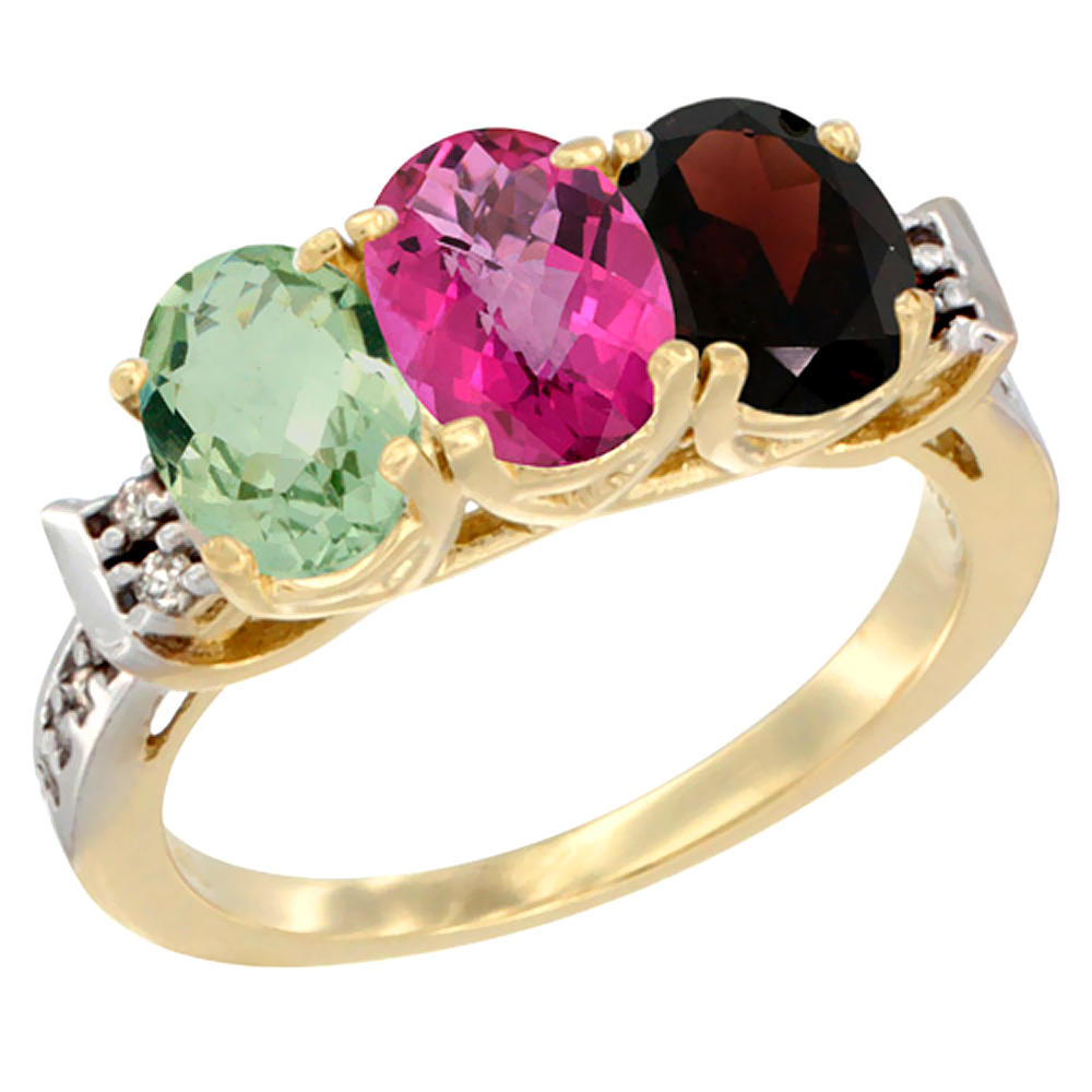 10K Yellow Gold Natural Green Amethyst, Pink Topaz & Garnet Ring 3-Stone Oval 7x5 mm Diamond Accent, sizes 5 10 by WorldJewels
