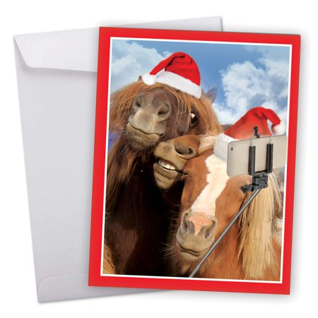 J2373BXSG Jumbo Merry Christmas Card: 'Holiday Animal Selfie' Featuring Wild and Wacky Horse Friends Taking Picture of Themselves Greeting Card with Envelope by The Best Card
