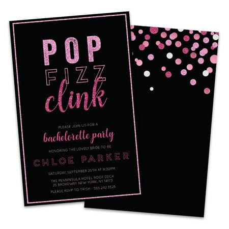 Personalized Pop, Fizz, Clink Bachelorette Party Invitations (Pop Up Invitations)