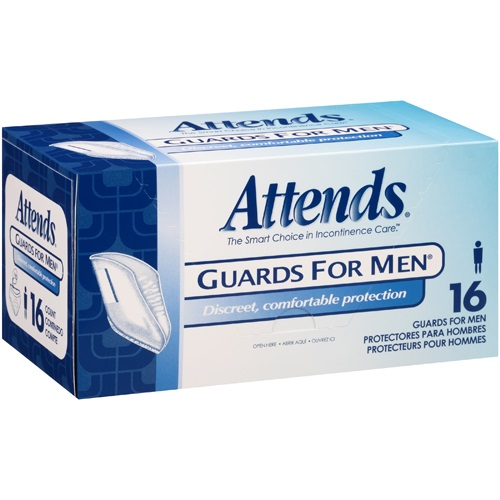 Attends Guards for Men Light Absorbency, Polymer, Male, Disposable, Box of 16