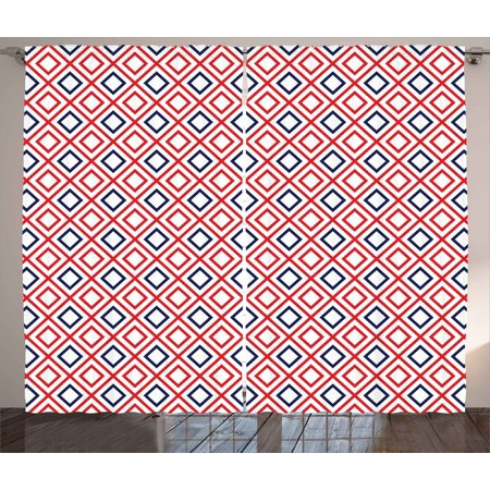 Geometric Curtains 2 Panels Set, Modern Design Red and Navy Color ...