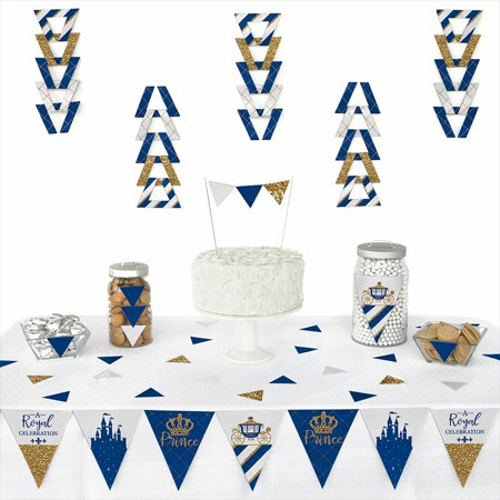 Royal Prince Charming - Triangle Baby Shower or Birthday Party Decoration Kit - 72 Piece (Royal Prince Baby Shower Ideas)