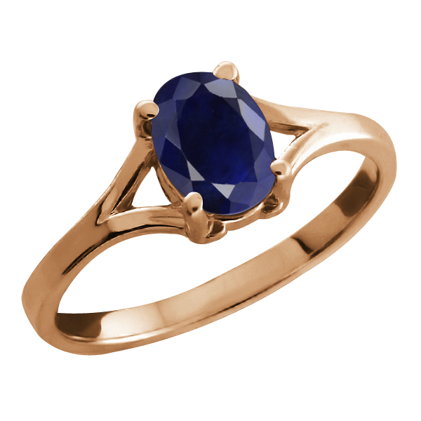 1.02 Ct Oval Blue Sapphire Rose Gold Plated Sterling Silver Solitaire Ring