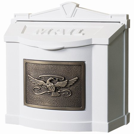 Gaines Mfg White Wall Mount Bronze Eagle Mailbox