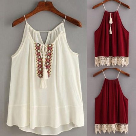 Black Friday Deals Sexy Tassel Lace Solid Camis Tops Sleeveless New Summer Women Casual Tops Size S-XL Wine Red White