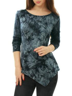 145dc58fa16 Free shipping. Product Image Women s Long Sleeves Round Neck Printed  Handkerchief Hem Tunic Top Dark Gray (Size XS