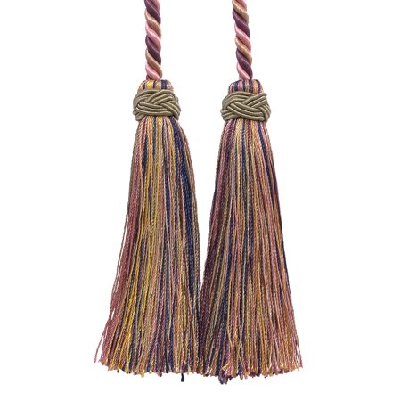 - Double Tassel / Dusty Rose, Dark Blue, and Light Olive / Tassel Tie with 4 inch Tassels, 26