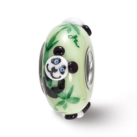 Sterling Silver Reflections Hand Painted Panda, Green Glass