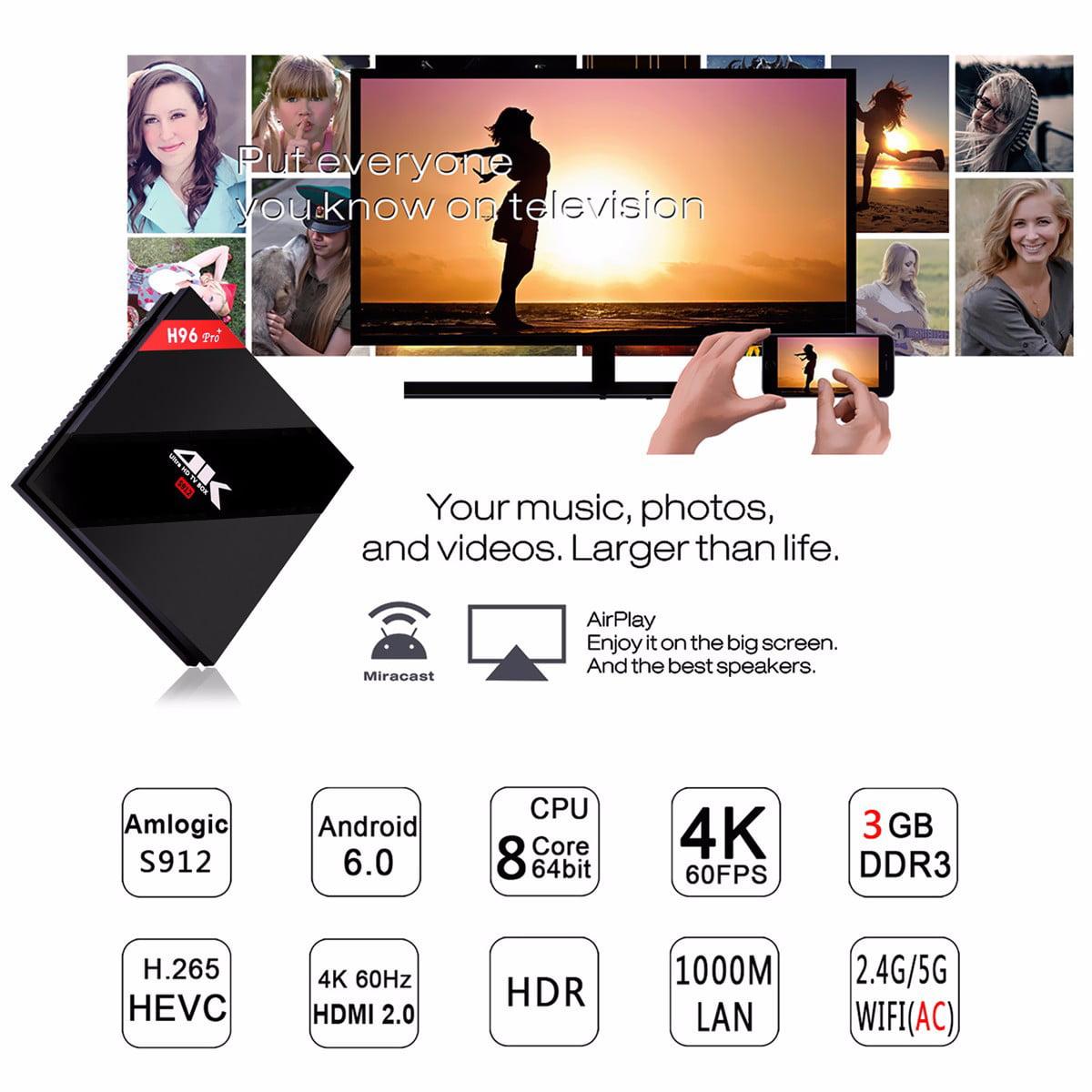 New H96 PRO PLUS Amlogic S912 Octa Core 3GB+32GB Android 6.0 TV Box Set-top