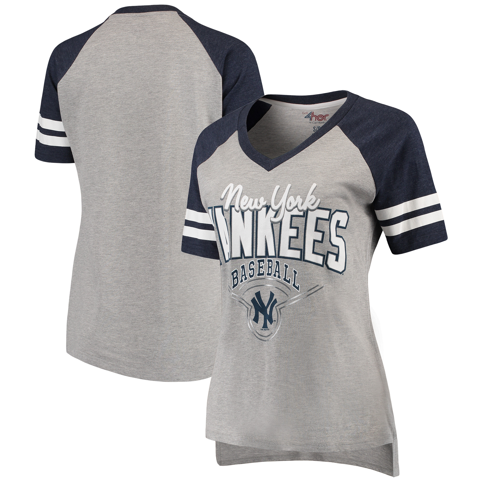 New York Yankees G-III 4Her by Carl Banks Women's Goal Line V-Neck T-Shirt - Heathered Gray/Navy
