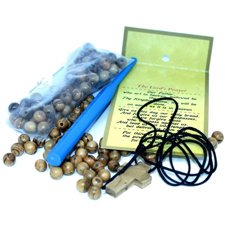 Rosary making kit - with 6 and 8 mm beads, Knotting or threading tool - made ...