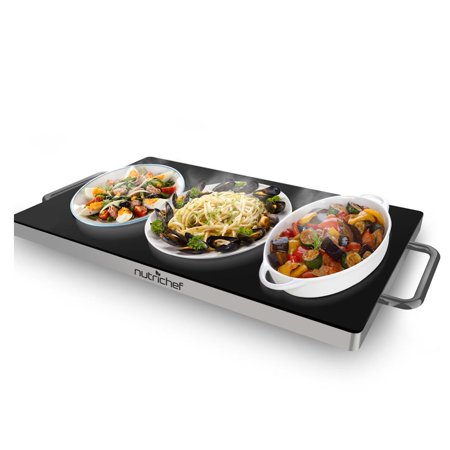 NutriChef Portable Electric Hot Plate | Black Glass Top Stainless Steel Warming Tray Dish Warmer | Multipurpose Use - Keep Food Warm for Buffet Serving, Restaurant, Parties, Table or Counter-top