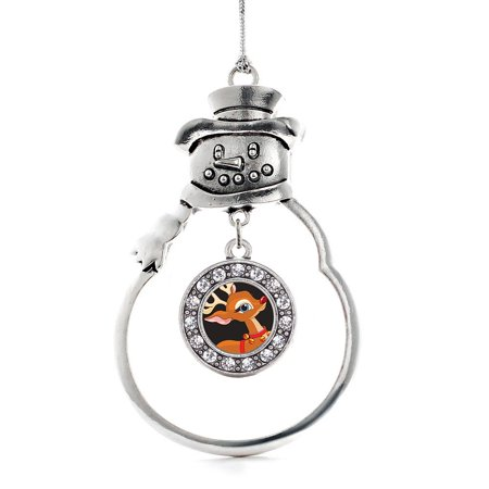 Red Nosed Reindeer Circle Snowman Holiday Ornament