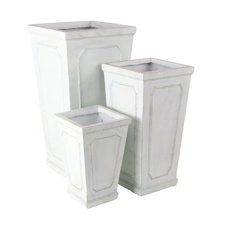 Decmode Farmhouse 16, 24, And 30 Inch Cylindrical White Planters - Set of 3