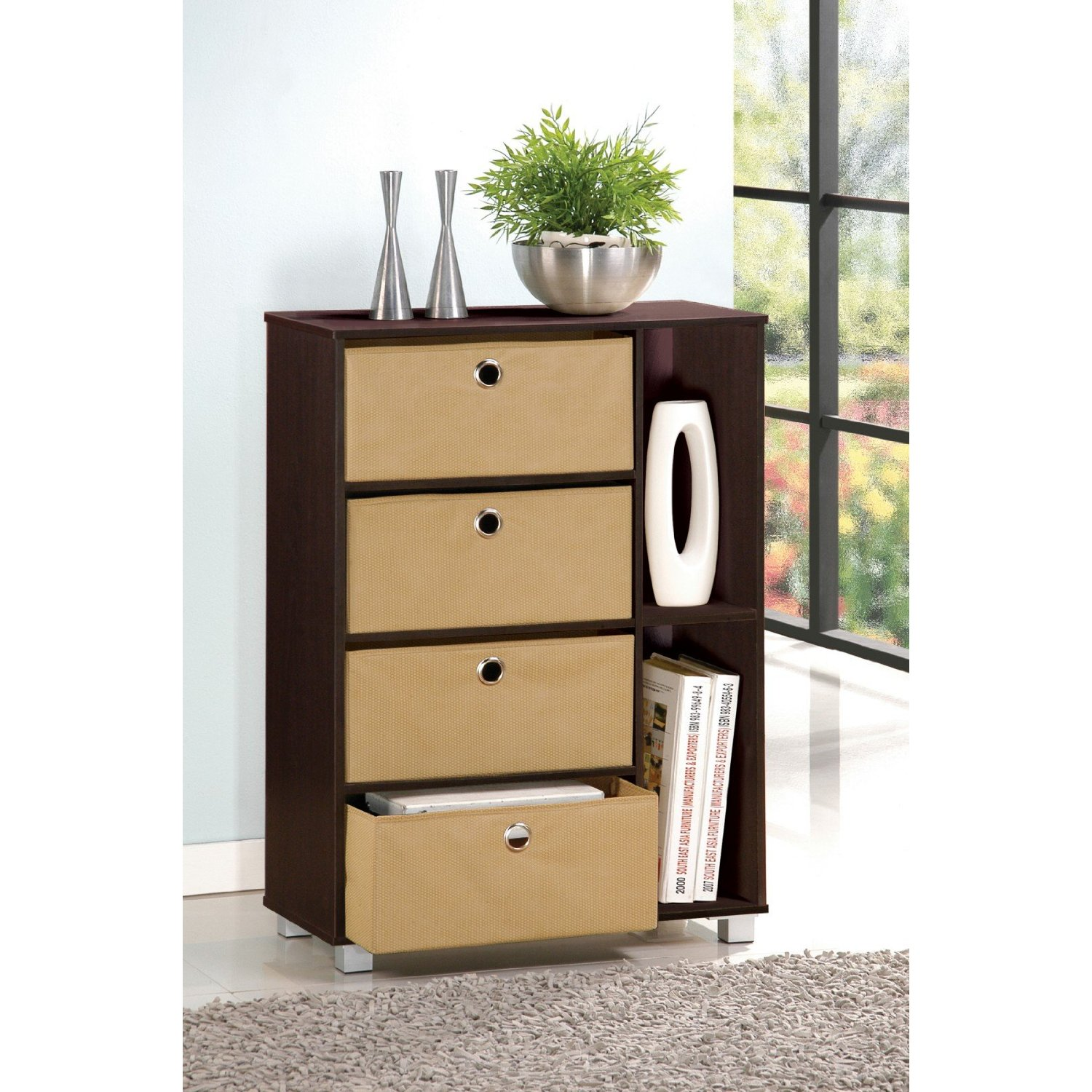 Furinno 11159 Multipurpose Storage Cabinet w/4 Bin-Type Drawers