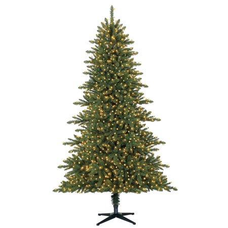 Holiday Time 7 5ft Pre Lit Ord Pine Quick Set Artificial Christmas Tree Clear 1500 Led Lights Green