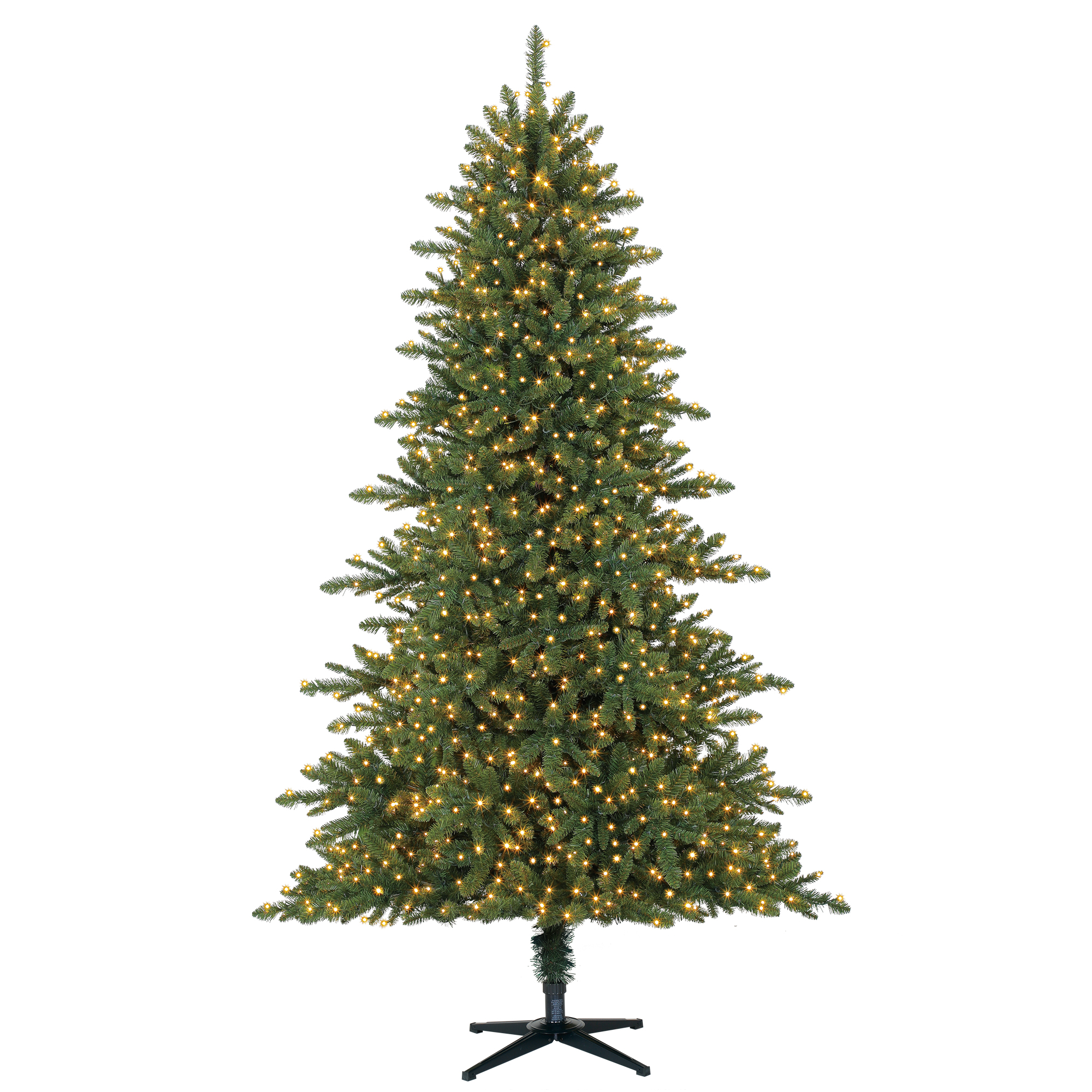 Holiday Time 7.5ft Pre-Lit Milford Pine Quick Set Artificial Christmas Tree Clear 1500 LED Clear Lights - Green
