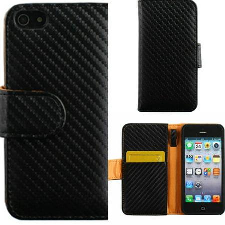 official photos 1d8f7 1aab6 Mundaze Apple iPhone 5/5S Black Carbon Fiber Textured Faux Leather Wallet  Phone Case