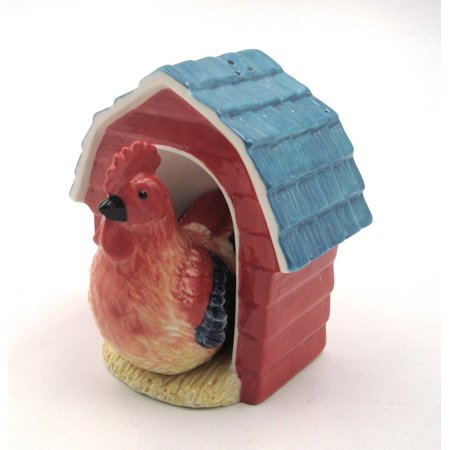 Rooster in Coop Ceramic Salt and Pepper Shakers Farm Animals Bird 20772 New