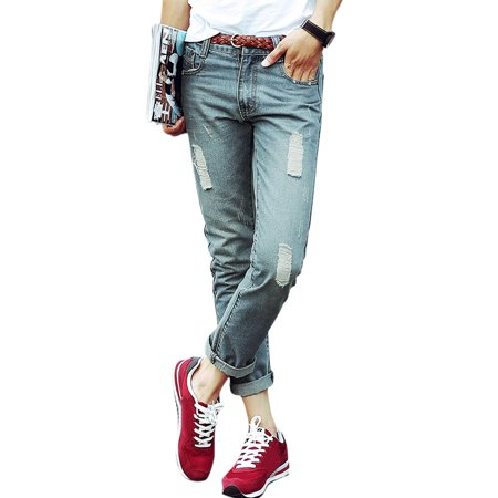 Men's Mid Rise Belt Loop Front Pockets Destroyed Skinny Jeans (Size S  /  W30)