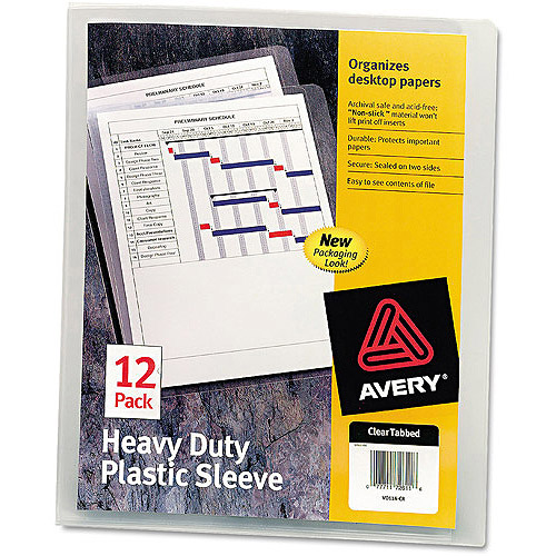 Avery Heavy-Duty Plastic Sleeves, Letter, Polypropylene, Clear, 12 Pack