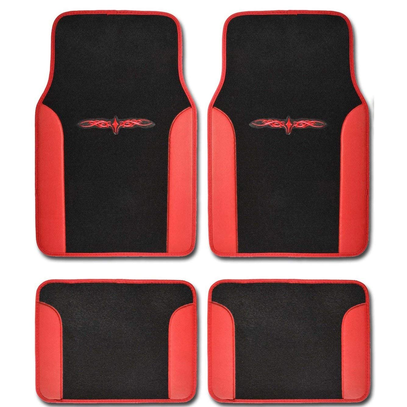 A Set of 4 Universal Fit Plush Carpet with Vinyl Trim Floor Mats For Cars/Trucks (Red)