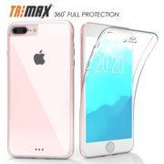 iPHONE 7/8 PLUS CLEAR CASE, NEW BEYOND CELL CLEAR FULL-BODY PROTECTION TRI-MAX TRANSPARENT CASE BUILT-IN SCREEN GUARD TPU WRAP SLIM COVER FOR APPLE iPHONE 7/8 PLUS