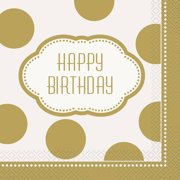 Golden Birthday Party Lunch Napkins, 16ct