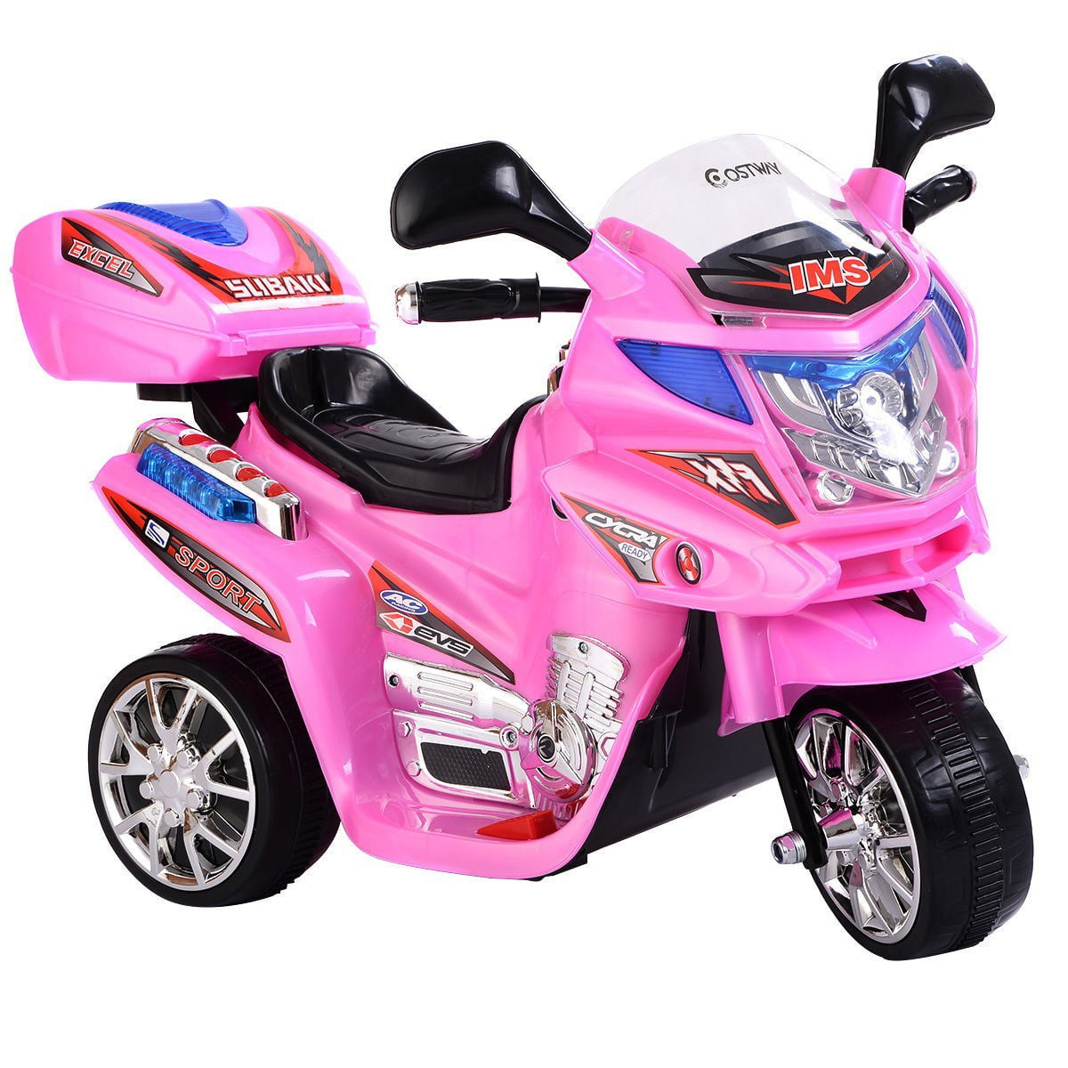 Kids Ride On Motorcycle 6V Battery Powered Electric Toy Power Bicyle New Pink by Apontus