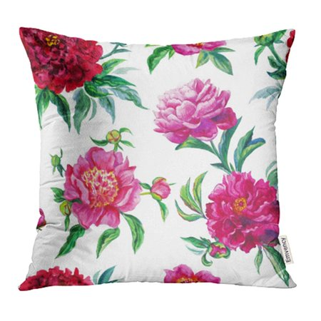 ARHOME Green Beautiful Watercolor Pattern of Burgundy and Pink Peonies on White Red Pillowcase Cushion Cover 18x18 inch ()