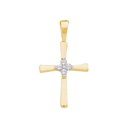 14kt Yellow Gold Womens Round Diamond Cluster Small Cross Religious Pendant 1/20 Cttw