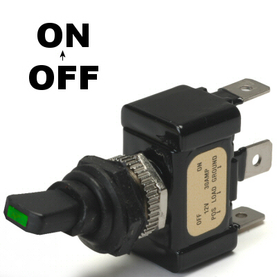 K-Four Green Led Tip Off / On 30 Amp Sand Sealed Toggle Switch With Tab Terminals