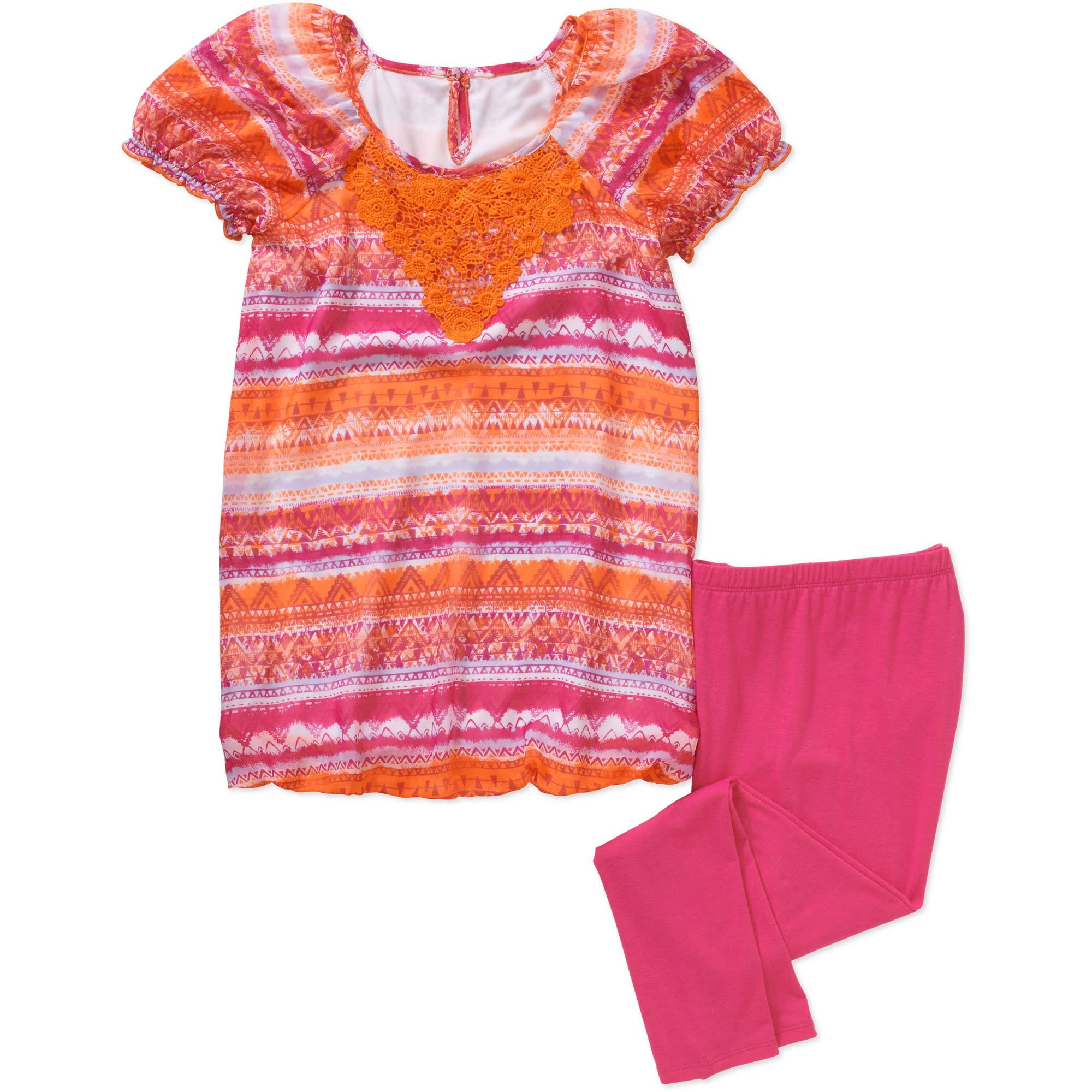 George Girls' Cap Sleeve Crochet Chiffon  Bubble Top and Legging Set