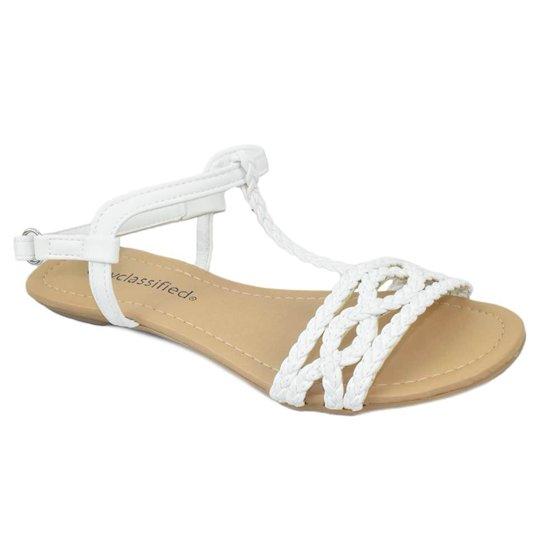 31e11b333750 City Classified Women Shoes Flat Sandals Velcro Ankle T-Strap Braided  Slingback ENNIS Black 5.5 - Walmart.com