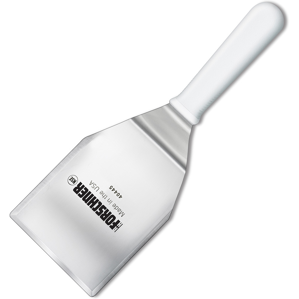 "Victorinox 4"" x 5"" Hamburger Turner Spatula, Stiff, White Polypropylene Handle"