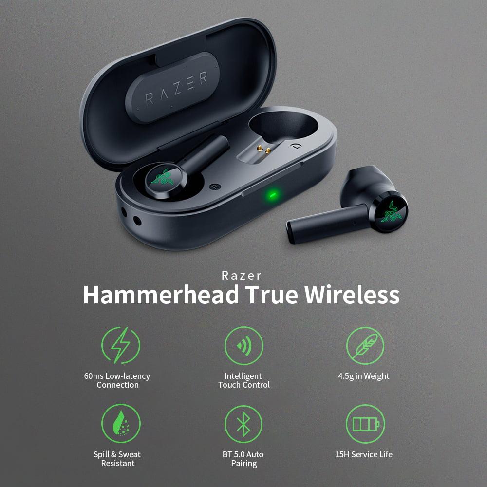 Razer Hammerhead True Wireless Earbuds In Ear Gaming Headphone Earphone 13mm Drivers Bluetooth 5 0 Auto Pairing Headsets Walmart Com Walmart Com