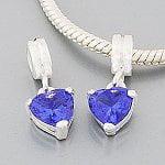 Buckets of Beads Rhinestone Heart Dangle Charm Bead, Blue