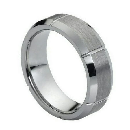 7mm Tungsten Carbide polished cuts on brushed center comfort fit Wedding Band Ring For Men or Ladies Cut Brushed Wedding Ring