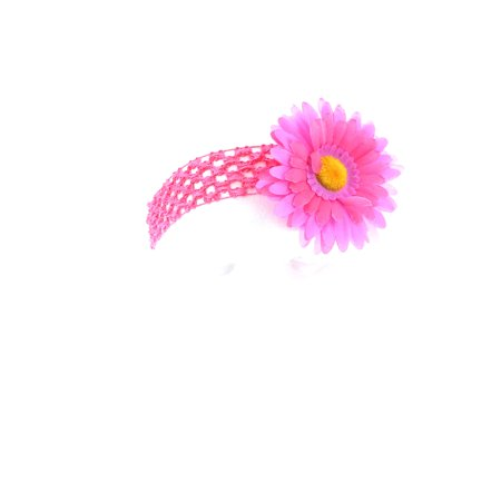 Hair Accessory Lavender and Hot Pink Two-Tone Daisy Flower Crochet Headband Flower Crochet Headband