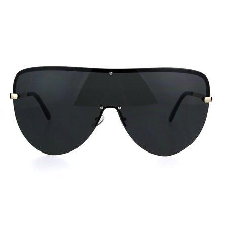 Oversize Rimless Shield Metal Rim European Designer Fashion Sunglasses Gold (European Sunglasses)