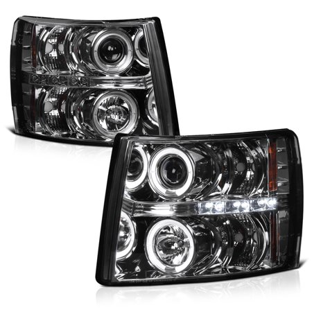 [For 2007-2013 Chevy Silverado 1500 2500HD 3500HD] LED Halo Ring Smoke Lens Projector Headlight Headlamp Assembly, Driver & Passenger Side