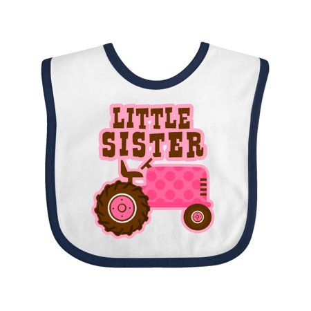 Pink Tractor - Pink Tractor Little Sister Baby Bib White/Navy One Size