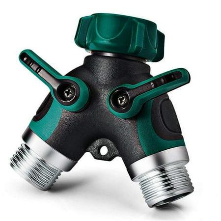 NEX 2 Way Y Hose Connector- Excellent for Garden Faucet Splitter, Metal Body, Comfortable Smooth Rubberized Grip (NX-E006)