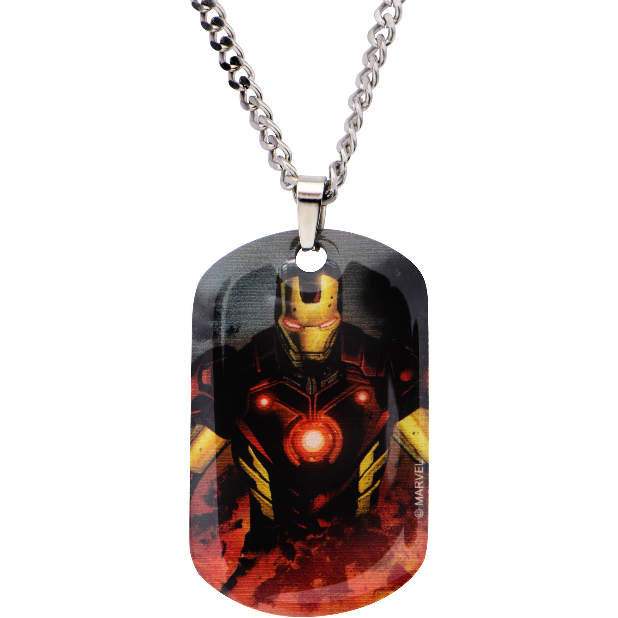 """Marvel Men's Stainless Steel Iron Man Dog Tag Pendant, 22"""" Chain"""