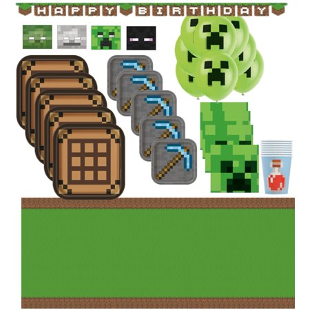 Minecraft Birthday Party Supplies for 16 with Decorations