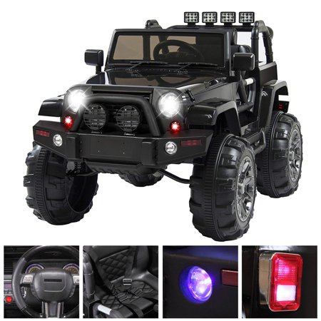 Musetech Electric Kids Cars, 12V Ride On Jeep Car for Boys&GIrls w/Remote Control, 3 Speeds, Spring Suspension, LED Lights, Black